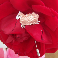 Sheep pin in copper and sterling silver
