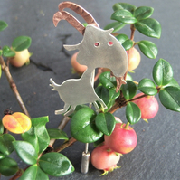 Capricorn goat pin brooch in sterling silver and copper