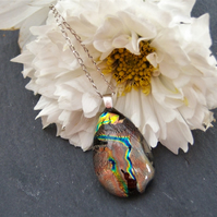 Teardrop dichroic glass pendant