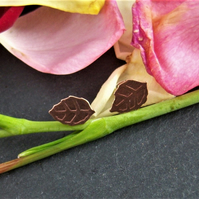 Leaf studs in etched copper