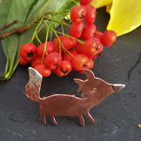 Fox brooch in copper and sterling silver