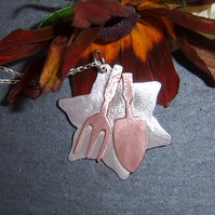 Garden tools pendant in sterling silver and copper