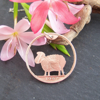 sheep pendant recycled from a bronze penny coin