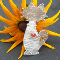 Cat coat brooch in etched pewter