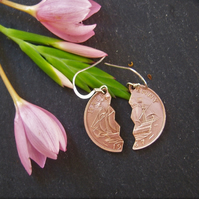 Recycled halfpenny earrings