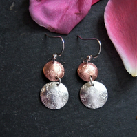 Circle earrings in sterling silver and copper