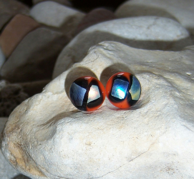 Multicoloured glass stud earrings