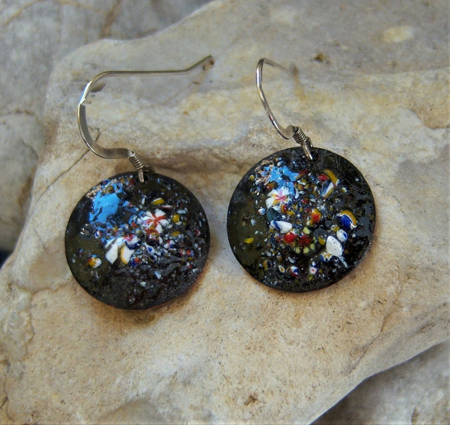 Black enamel earrings