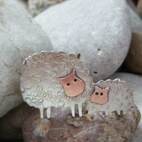 Sheep and lamb brooch in sterling silver