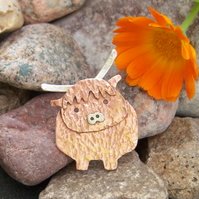 Highland cow brooch in copper and sterling silver