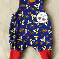Newborn, Reversible romper dungarees - bee and rainbow