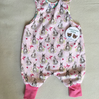 Age 3 month, reversible dungarees romper
