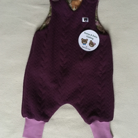 Age 3 month, reversible dungarees romper - plum cable
