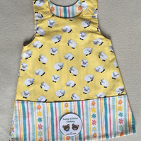 Age 1 year, Reversible Pinafore Dress- sheep and stripes