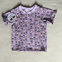 Age 1 year - t-shirt, lilac flowers and birds