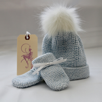 Blue Marle Baby Hat & Mitts