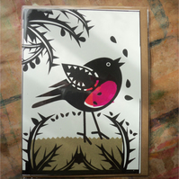 Screen Printed and Collaged Card  - ROBIN