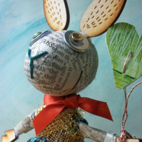 RABBIT with HEARTS - Glued, Moulded, Stretched and Sewn