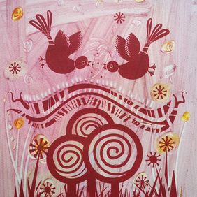 Berries and Birds - Screen Print and Paste Paper