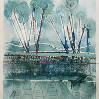 Original Collagraph - Iced Morning