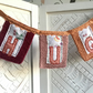 Hug Banner, fabric Initial decorative Garland, orange and pink wall sign