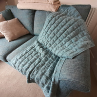 Hand-knitted Taupe Basket Weave pattern throw for bed or sofa