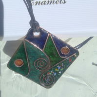 LARGE STATEMENT ENAMELLED PENDANT - CLOISONNE