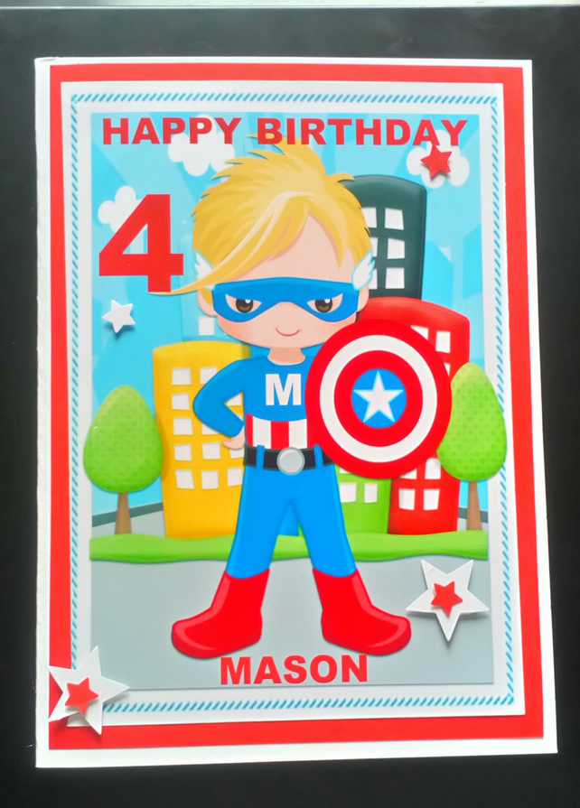 Personalised Super Hero Birthday Card,Son,Grandson,Brother,Nephew,3rd,4th,5th,6