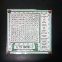 Personalised Garden Worrl Search Puzzle Card,Birthday,Retirenent,Father's Day