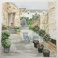 Bay trees in the courtyard original watercolour painting