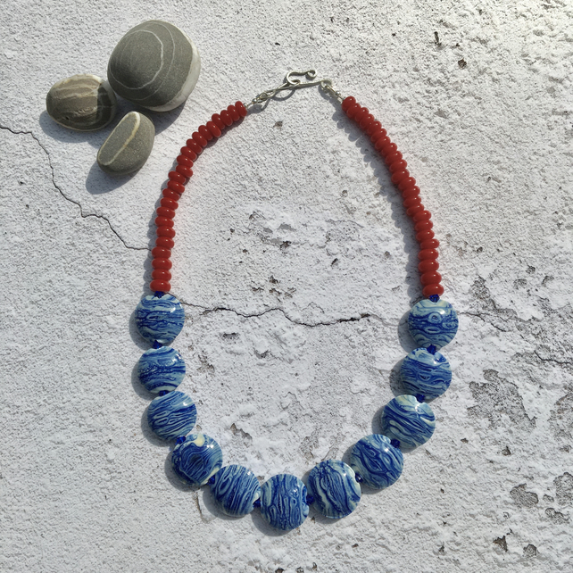 Red and Blue Morvoren Necklace, Lampwork Glass and Sterling Silver
