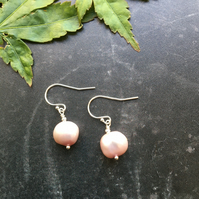 Pink Baroque Pearl & Sterling Silver Earrings
