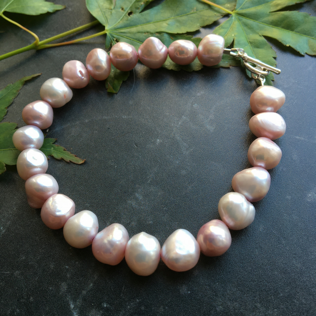 Pink Baroque Pearl and Sterling Silver Bracelet