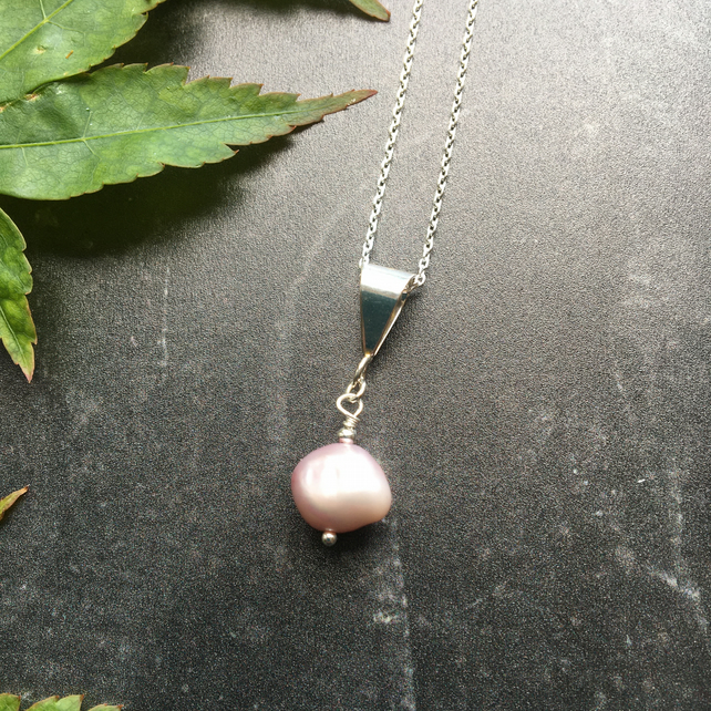 Pink Baroque Freshwater Pearl Pendant and Sterling Silver Chain Necklace