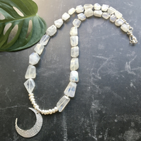 Rainbow Moonstone, Pearl and Sterling Silver Moon Necklace