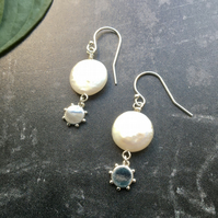 Coin Pearl and Beaded Silver Disc Sterling Silver Earrings