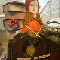 Textile Art Doll Sculpture, Molly Weasley, Burrow Inspired