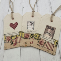 Sent with Love, A set of 3 fabric tags
