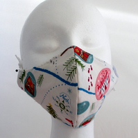 Hand made face mask with Christmas village