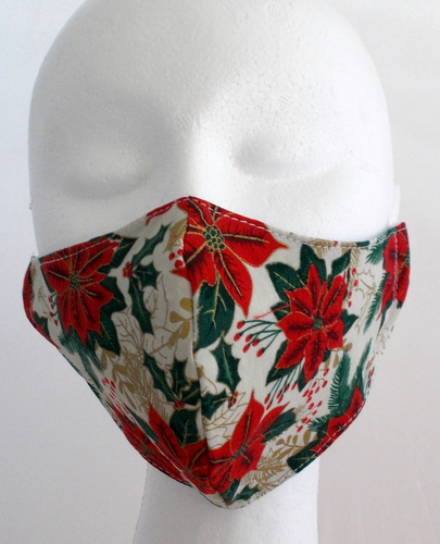 Hand made medium face mask with poinsettia