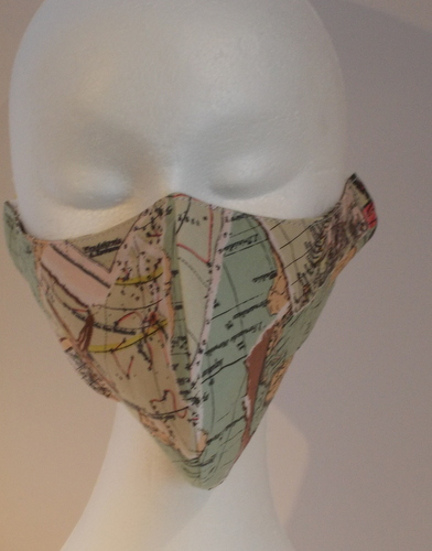 Hand made face mask with vintage map print small size