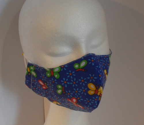 Hand made face mask with butterfly print small size