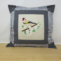 Cushion with Goldfinch Embroidery