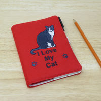 A6 Covered Notebook with Cat Embroidery