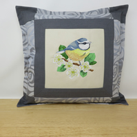 Cushion with Blue Tit Embroidery