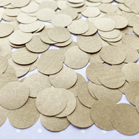 1000 Brown Kraft Paper Confetti Circles - Wedding Party Table Decor