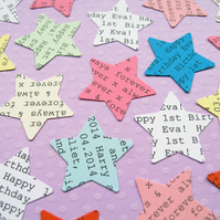 100 Personalised Star Confetti - Wedding Birthday Engagment Baby Shower Decor
