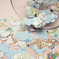 400 United Kingdom Map Confetti Hearts - Wedding Party Travel Decor