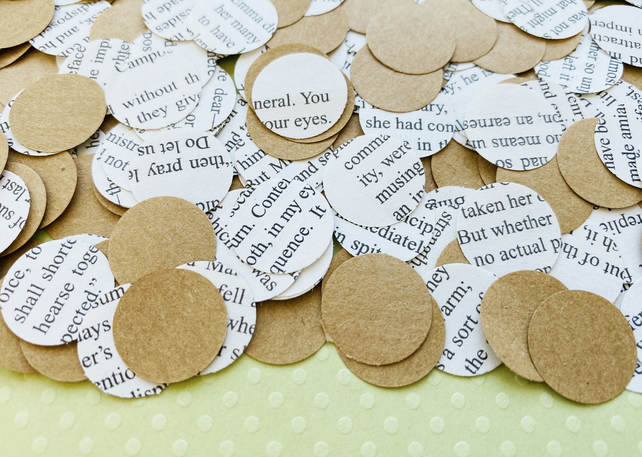 500 Circle Book Kraft Confetti - Many Book Choices - Wedding Decor