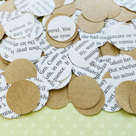 1000 Circle Book Kraft Confetti - Many Book Choices - Wedding Birthday Decor